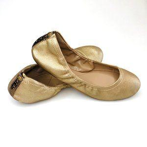 Cole Haan Grand OS Gold Elasticized Ballet Flats